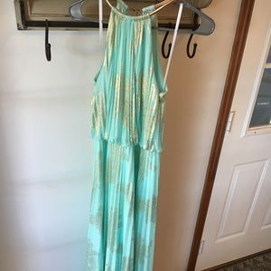 XSCAPE gold and soft green/teal maxi dress